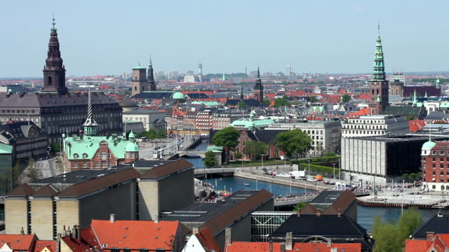 Skyline Copenhagen Panorama of Copenhagen, real time denmark stock videos & royalty-free footage