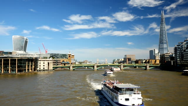 Skyline London with River Themse, Time Lapse video