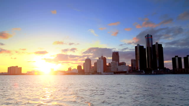 Skyline of Detroit, MI during sunset video