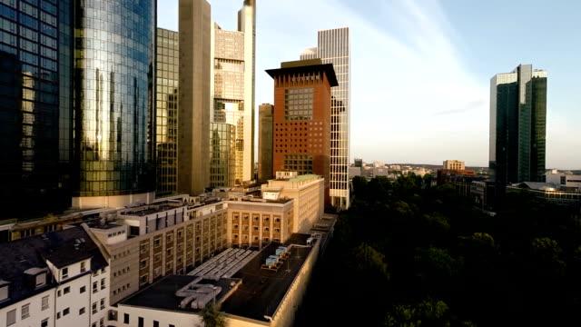skyline of frankfurt am main. banking business district video