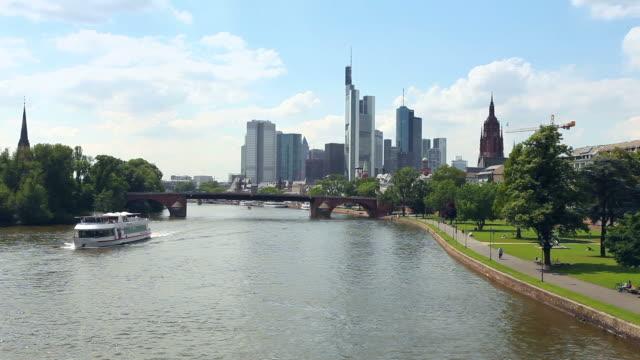 Skyline of Frankfurt am Main Skyline of Frankfurt am Main. Real Time wasser videos stock videos & royalty-free footage