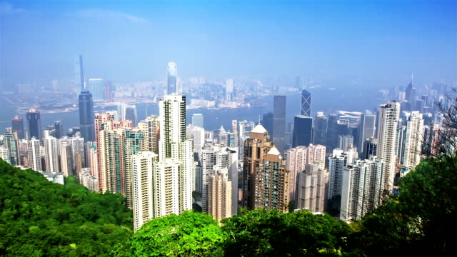 skyline of Hong Kong city from victoria peak. time lapse video