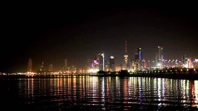 Skyline of Kuwait City at night video