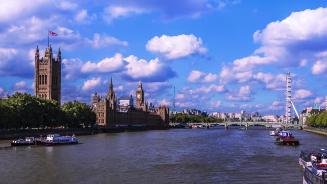 Skyline of London seen with beautiful clouds video