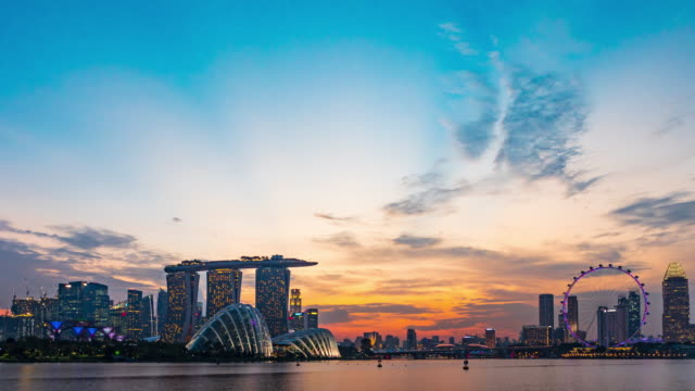 d2n skyline of marina bay, singapore - singapore architecture stock videos & royalty-free footage