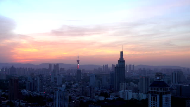 Skyline of Nanjing  city,sunset time video