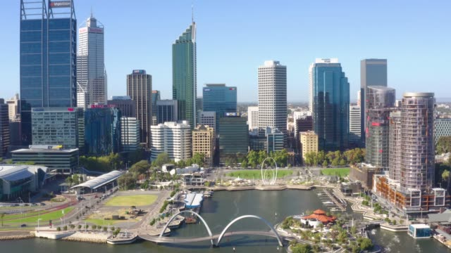 skyline of perth with city central business district in western australia, australia - western australia stock videos & royalty-free footage