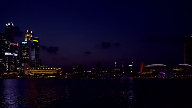 Skyline of Singapore Central Business District in Dusk hour video