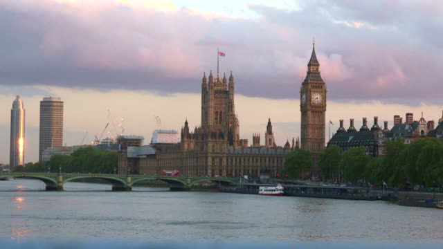 Skyline of Westminster bridge and Palace with Big Ben Clock Tower London UK video