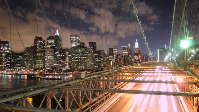 NYC Skyline with Bridge Traffic video