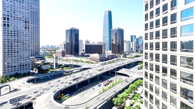 skyline,traffic and office buildings in Beijing,china,timelapse. video