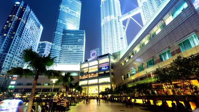 stockvideo's en b-roll-footage met skyline,walking crowds and skyscrapers exterior in kuala lumpur,hyperlapse. - maleisië