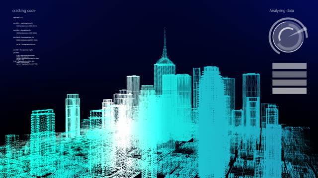 3D skyscraper building simulation HUD digital Screen display smart financial business city analyze dashboard background. Smart technology IOT of sci-fi future startup city.