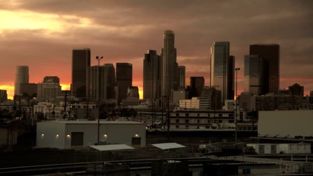 Skyscraper Sunrise in Big City Downtown Timelapse video