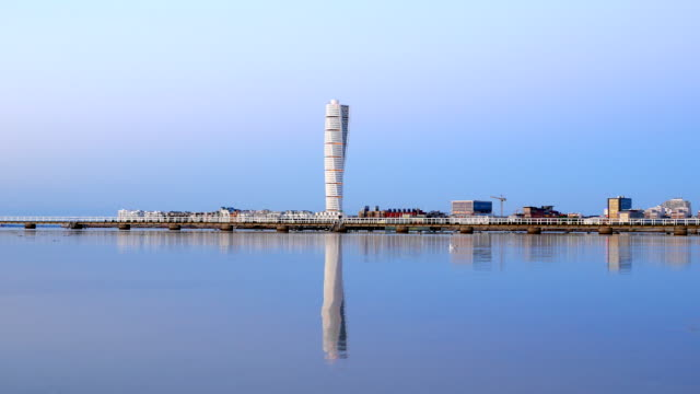 skyscraper turning torso in malmo sweden - post modern architecture stock videos & royalty-free footage