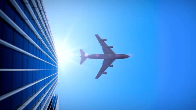 Skyscraper with Airplane - 4K video