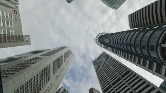 skyscrapers 360 panning time lapse in cloudy day video