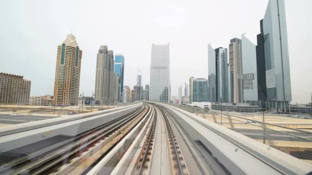 POV Skyscrapers along Dubai's metro railway