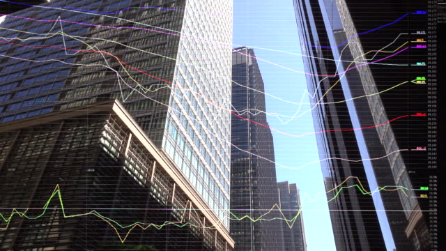 skyscrapers and charts and graphs - paragone video stock e b–roll