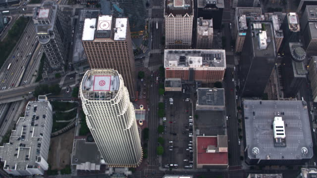 AERIAL Skyscrapers in Downtown Los Angeles, California