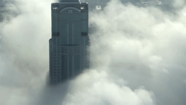 Skyscrapers in the Fog - Aerial Shot of Downtown Seattle video