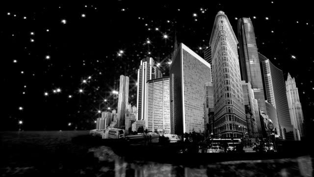 skyscrapers island at night video