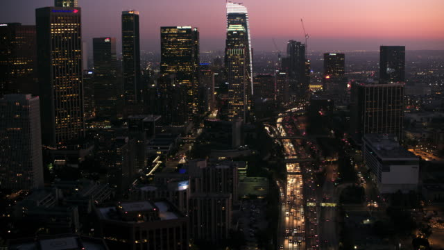 AERIAL Skyscrapers of Downtown LA at night