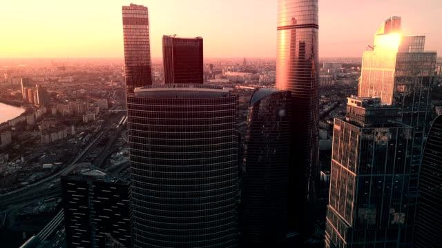 skyskrapor skyline i solnedgången - moskva bildbanksvideor och videomaterial från bakom kulisserna