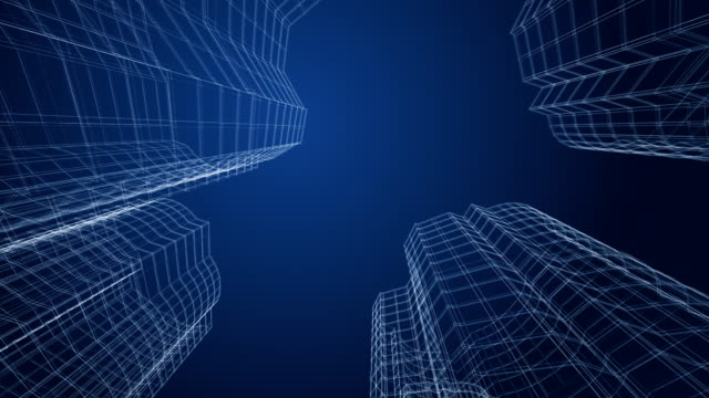 Skyscrapers City buildings project. 3d wireframe. wire frame model stock videos & royalty-free footage