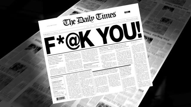 stockvideo's en b-roll-footage met slang - newspaper headline - swearing