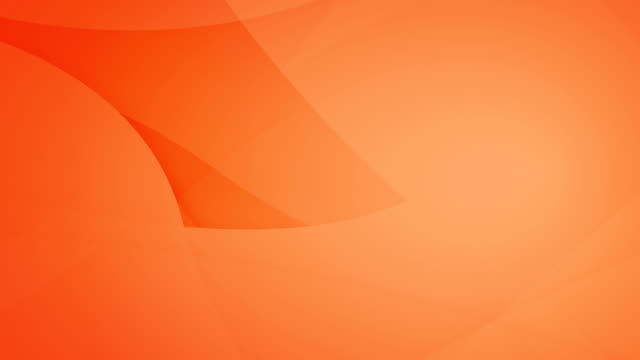 Slanted, angled and rounded and curved abstract orange geometric shapes, circles meshing each other and floating around loop able seamless 4k background video