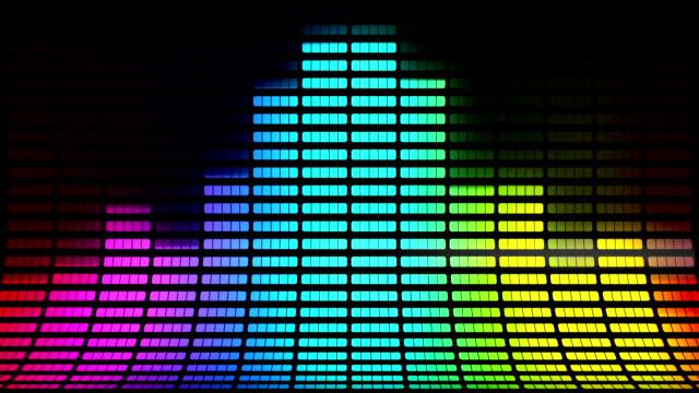 vidéos et rushes de egaliseur graphique incliné: multicolore, bouclables fond - synthétiseur