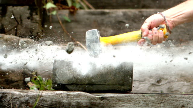 Sledge Hammer Smashing A Concrete Block Stock Video - Download ...