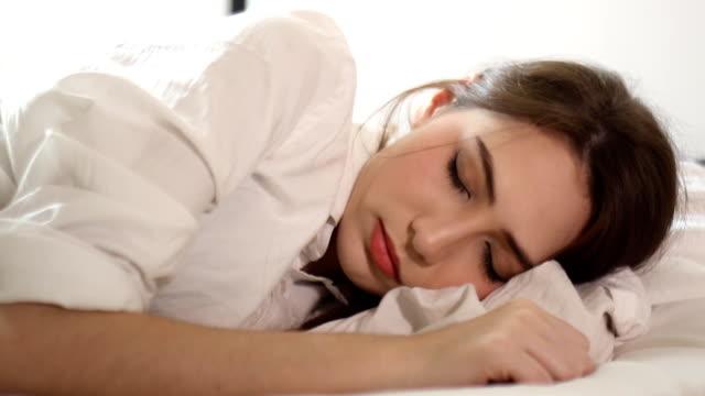 sleeping of beautiful woman video