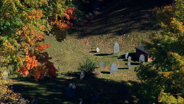 Sleepy Hollow Cemetery  - Aerial View - Massachusetts,  Middlesex County,  United States video