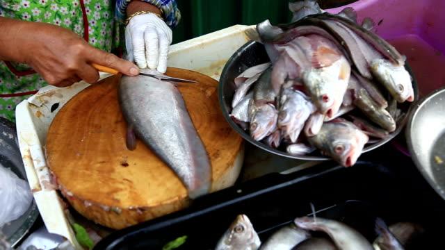 plasterek świeże ryby na zakupy na rynku - spoiler filmów i materiałów b-roll