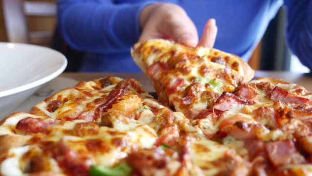 Slice of pizza ,Dolly shot video