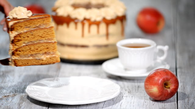 Slice of the caramel apple cake with spices, cinnamon, dried apples, creamy caramel in autumn style.