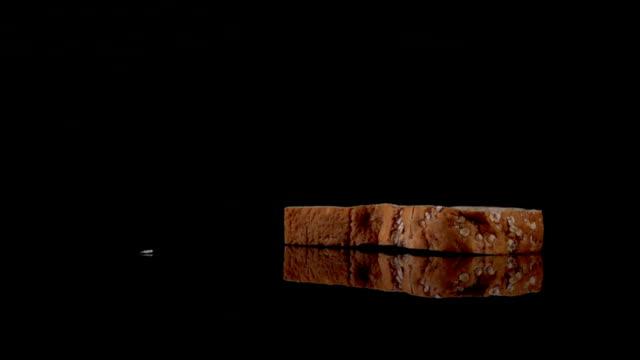 슬라이스 전밀 식빵 낙차 슬로우모션 대한 - 식빵 한 덩어리 스톡 비디오 및 b-롤 화면