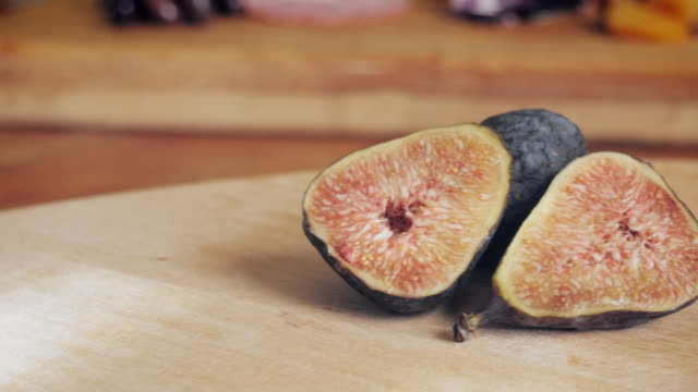 Sliced Figs on a Wooden Cutting Board - 4k video