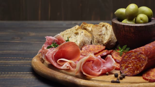 sliced prosciutto and salami sausage on a wooden board video