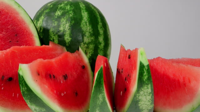 DOLLY: Slices of red watermelon video