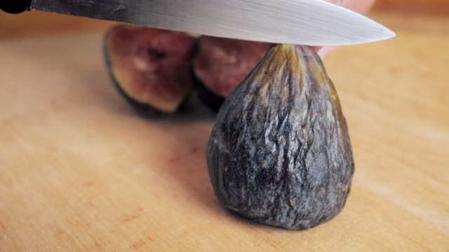 Slicing Fresh Figs - 4k video