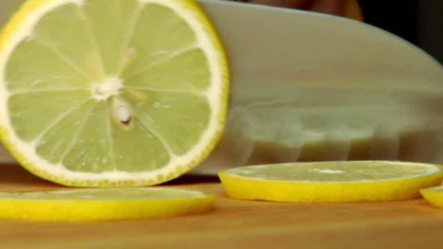 HD Slicing Lemons Close-up video