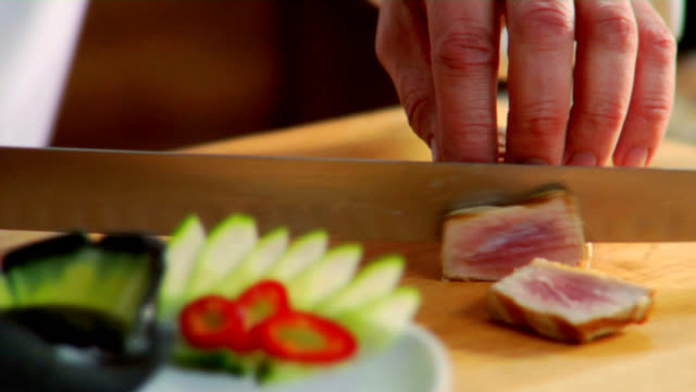 HD Slicing Sashimi-Grade Ahi Tuna video