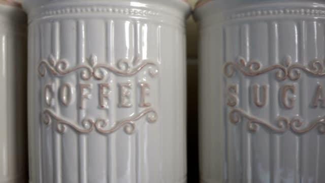 Slider Sugar Coffee Tea pots kitchen cut away Slider Sugar Coffee Tea pots kitchen cut away pantry stock videos & royalty-free footage