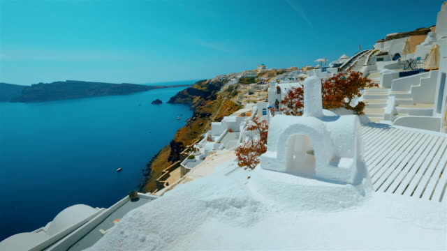 Slider Ultra Wide Panoramic Shot Santorini Cliff and Aegean Sea in the Afternoon video