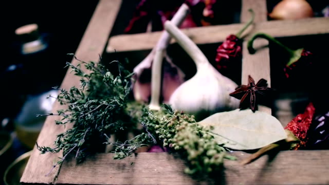 Sliding on spices and herbs cooking table video