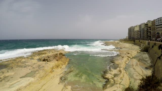 Sliema, Rocks, Promenade, Mediterranean Sea, Republic of Malta, Time Lapse video