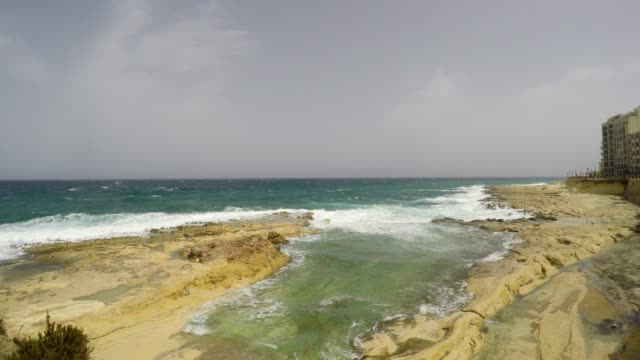 Sliema Rocks, Promenade, Mediterranean Sea, Republic of Malta video